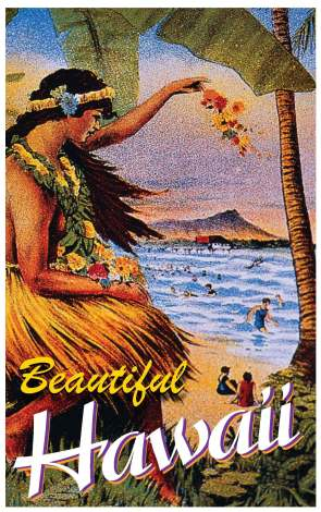 Using an illustration filled with nostalgia, the prospective customer is reminded of the old days when Hawaii was the ultimate getaway. This makes them want to go all the more.
